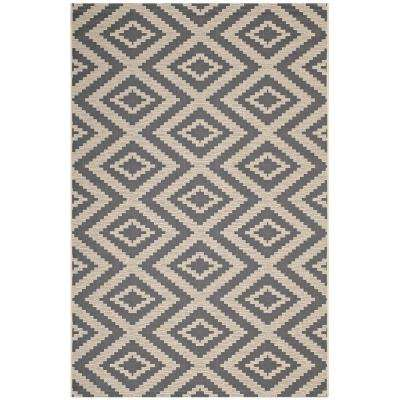 Jagged Geometric Diamond Trellis 8 ft. x 10 ft. Indoor and Outdoor Area Rug in Gray and Beige
