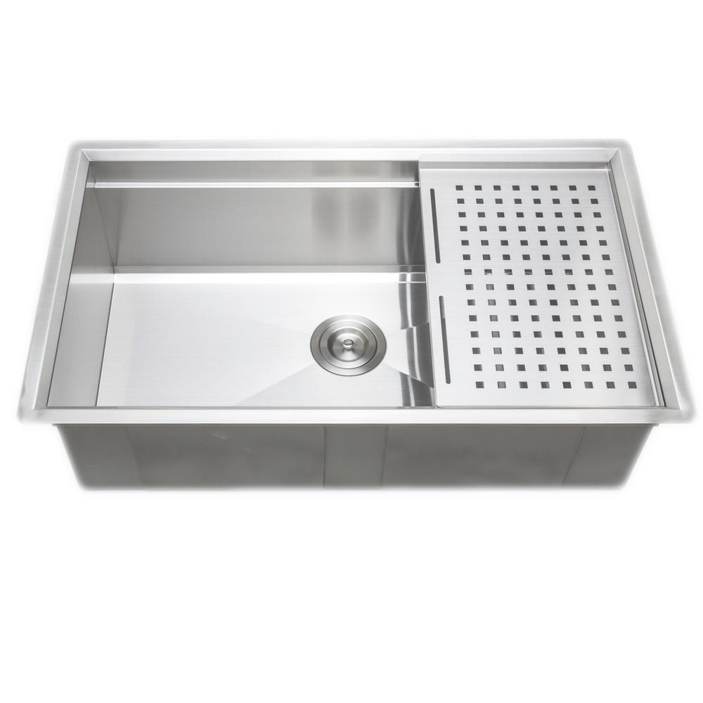 3D Series Undermount Stainless Steel 32 in. Single Bowl Kitchen Sink