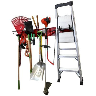 8 in. H x 64 in. W Garage Tool Storage Lawn and Garden Tool Organization Rack with Red Metal Pegboard and Black Hook Set