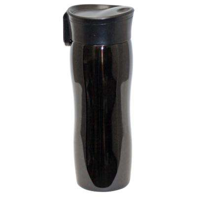 14 oz. Black Double Wall Stainless Steel Vacuum Tumbler with Push Button (6-Pack)