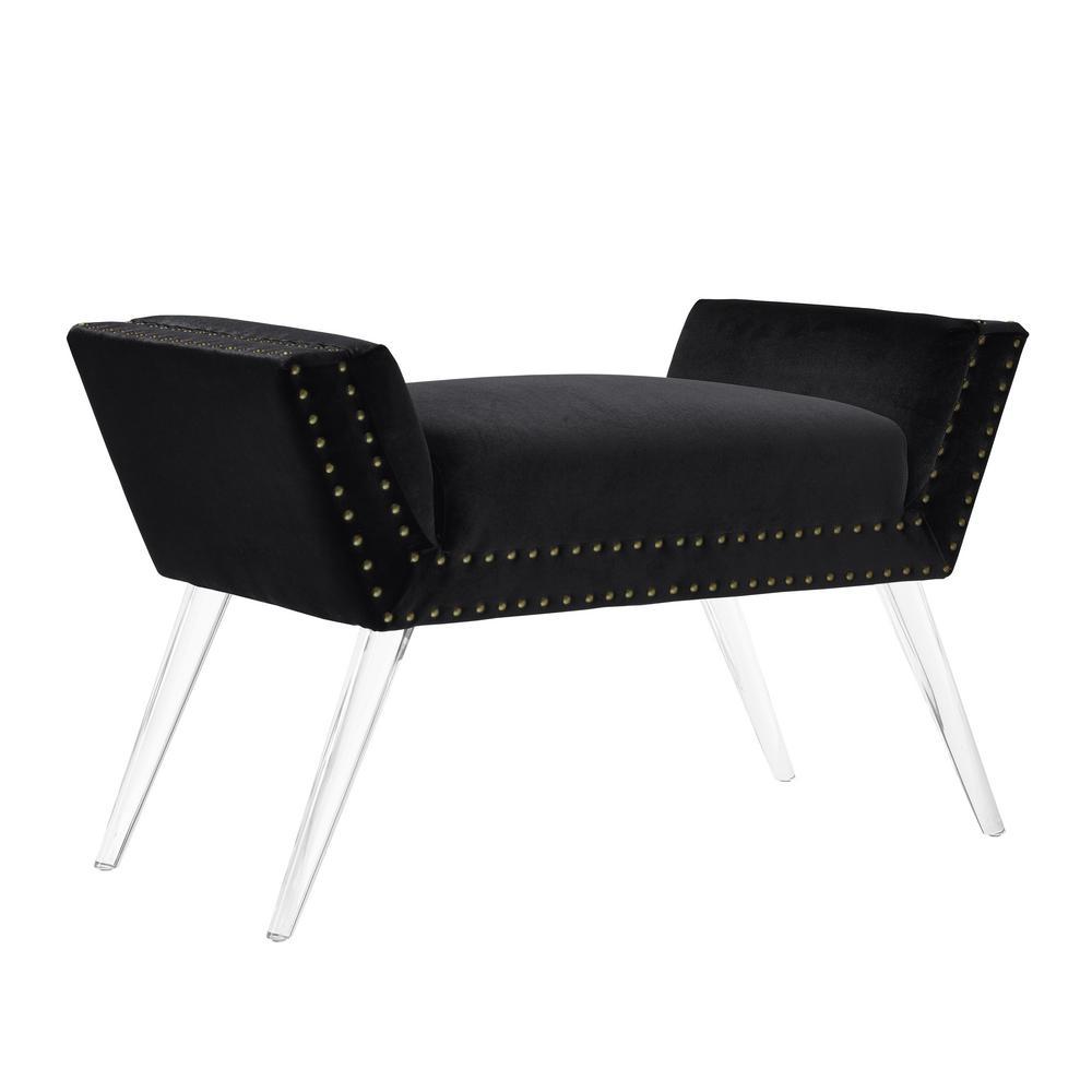 Linon Home Decor Corie Black Vanity Acrylic Leg Bench THD00621