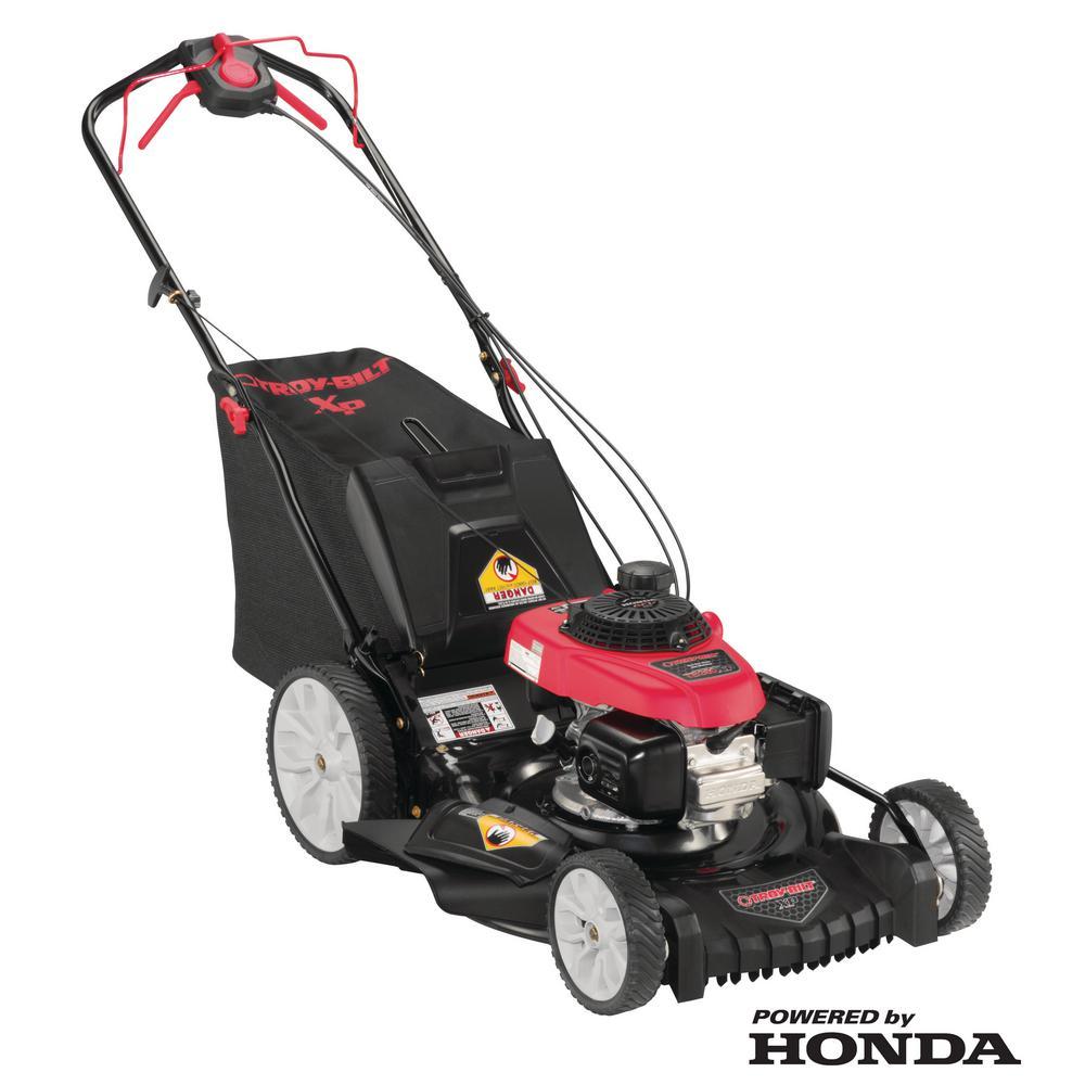 Troy Bilt Xp 21 In 160 Cc Honda Gas Walk Behind Self Propelled Lawn Mower With High Rear Wheels 3 1 Triaction Cutting System