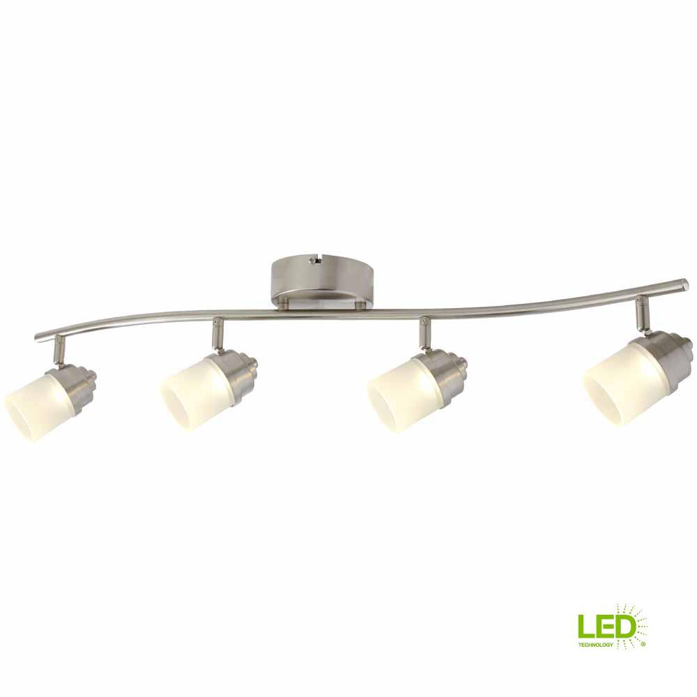 2.6 ft. 4-Light Brushed Nickel Integrated LED Track Lighting Kit