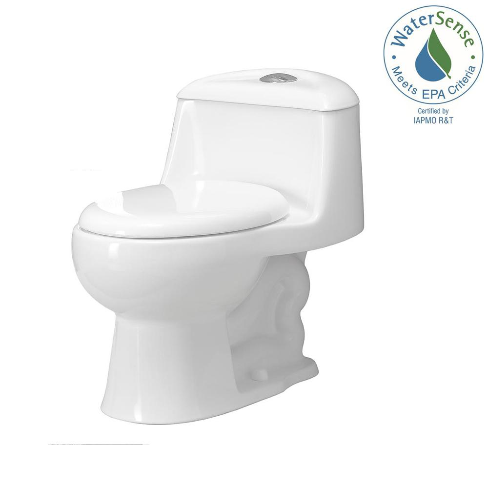 Foremost Gemini 1-Piece 1.1 GPF/1.6 GPF Dual Flush Round Toilet with Slow-Close Seat in White