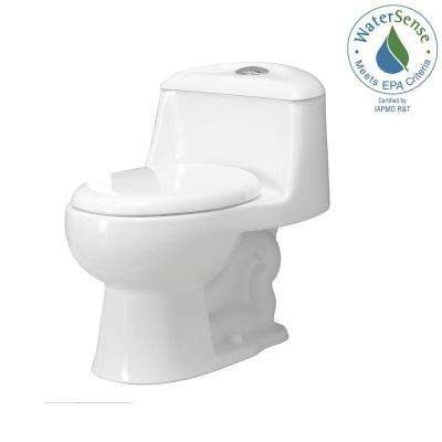 Gemini 1-Piece 1.1 GPF/1.6 GPF Dual Flush Round Toilet with Slow-Close Seat in White