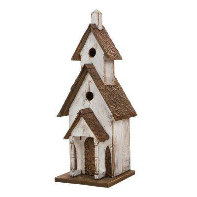 23.62 in. H Oversized Rustic Wood White Birdhouse