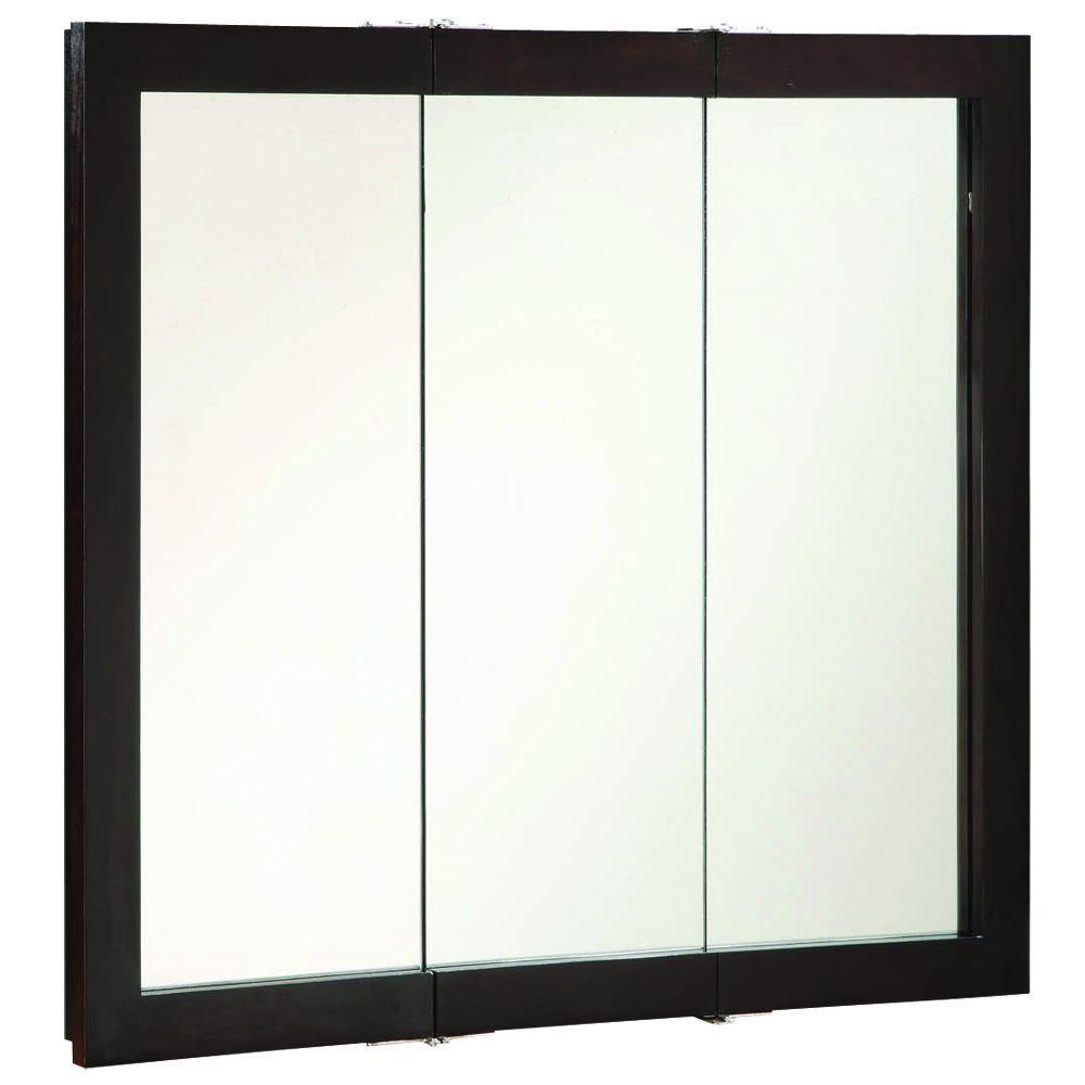 Ventura 36 in. W x 30 in. H x 6 in. D Framed Tri-View Surface-Mount Bathroom Medicine Cabinet in Espresso