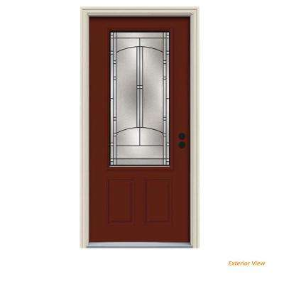 36 in. x 80 in. 3/4 Lite Idlewild Mesa Red Painted Steel Prehung Left-Hand Inswing Front Door w/Brickmould