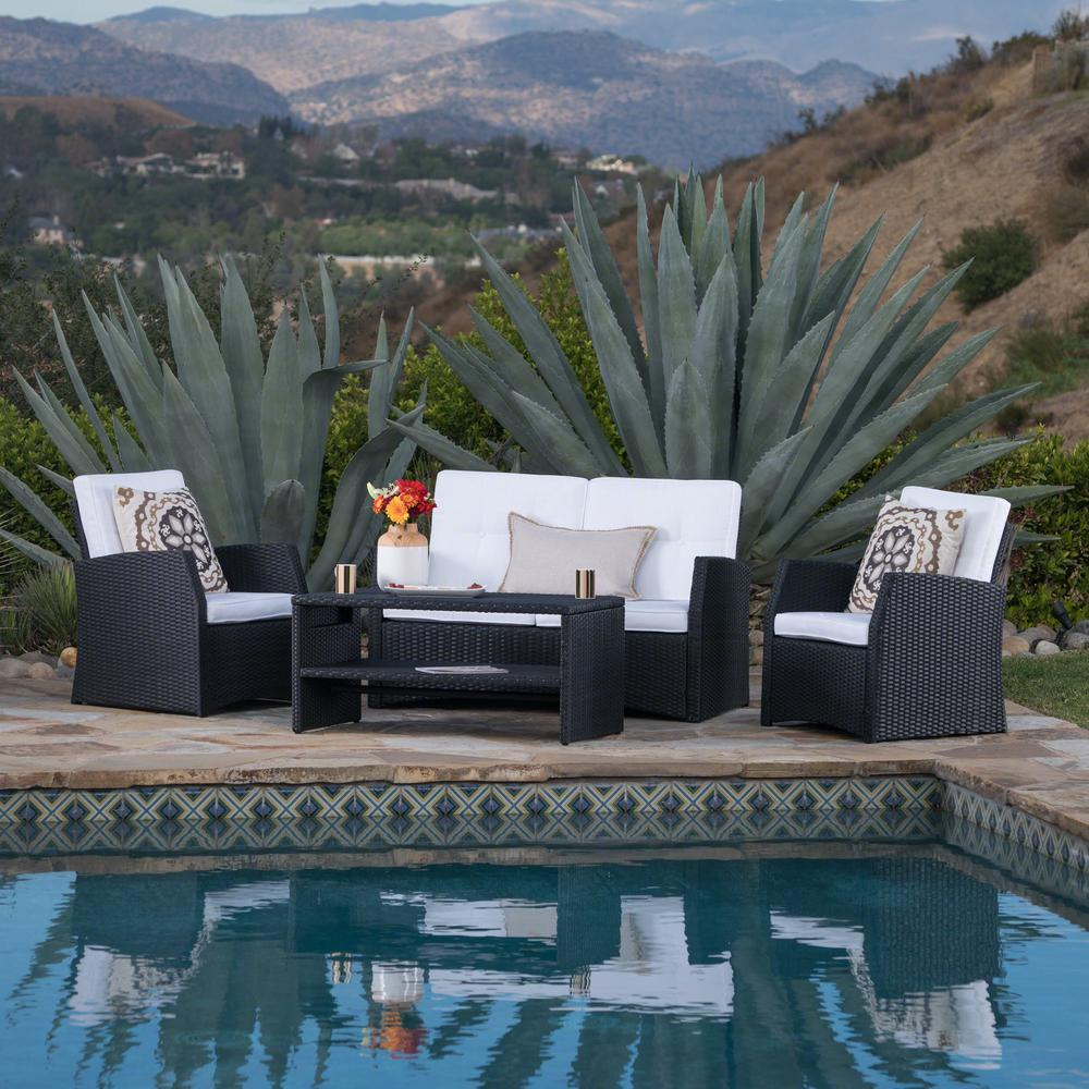 Noble House Black 4-Piece Wicker Patio Conversation Set with White Cushions