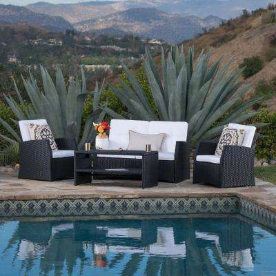 Black 4-Piece Wicker Patio Conversation Set with White Cushions