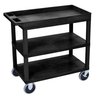 EC 35.25 in. W x 18 in. D x 35.5 in. H in. Utility Cart with 5 in. Casters 1-Tub and 2-Flat Shelves in Black