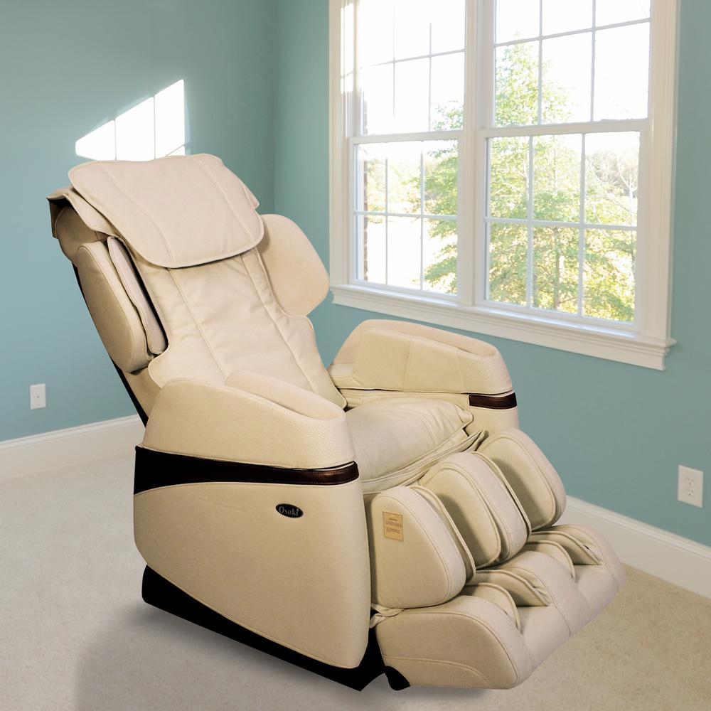New TITAN Osaki Tan Faux Leather Reclining Massage Chair-OS-3700CREAM  GA17