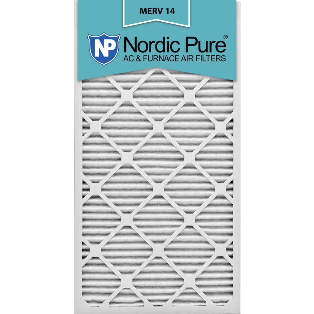 2 Pack 14x30x1M14-2 2 Piece Nordic Pure 14x30x1 MERV 14 Pleated AC Furnace Air Filters