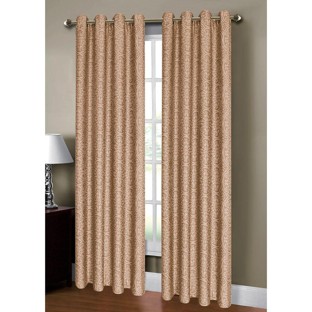 Window Elements Semi Opaque Mirabel Jacquard Extra Wide 84 In L Grommet Curtain Panel Pair