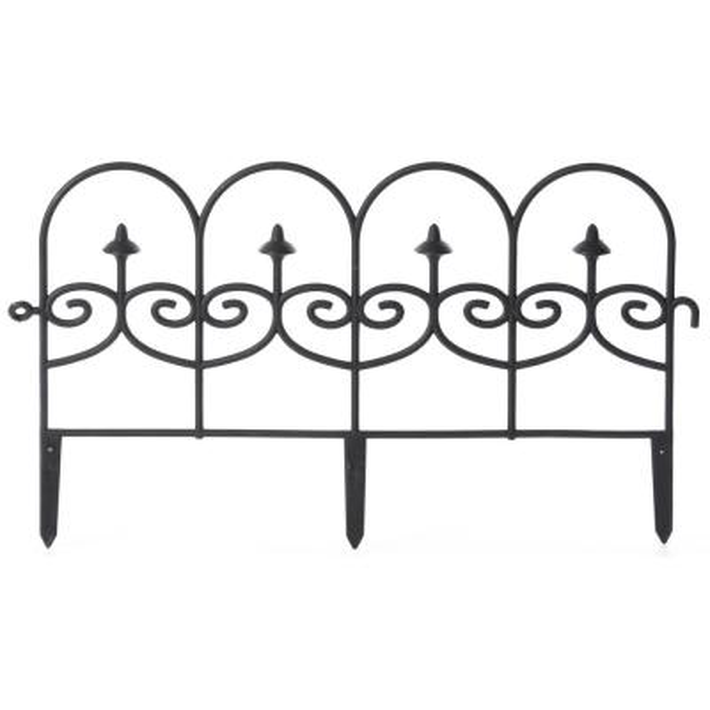 13 in. H Decorative Black Vinyl Garden Patio Lawn Fence Landscape Panel Border Ornamental Edging