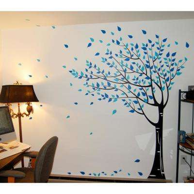 75 in. x 78 in. Black Trunk, Geyser Blue and Vivid Blue Leaves Gone with the Wind Tree Removable Wall Decal