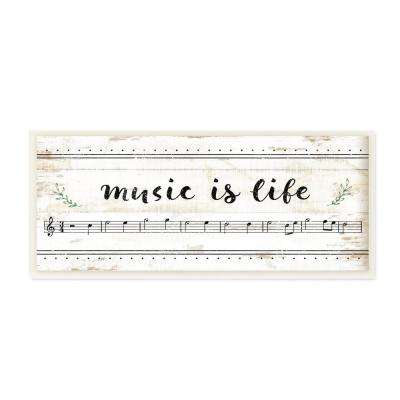 "7 in. x 17 in. ""Music Is Life Composition Paper with Black and White Notes"" by Artist Jennifer Pugh Wood Wall Art"