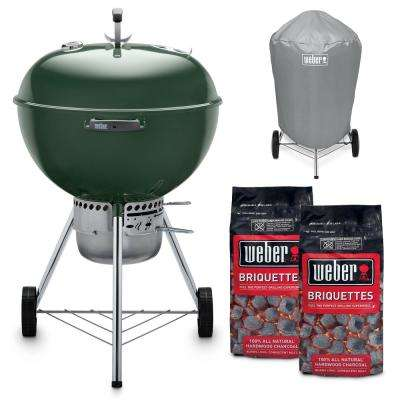 22 in. Original Kettle Premium Charcoal Grill in Green Combo with Grill Cover and 2-Bags of Weber Charcoal Briquettes