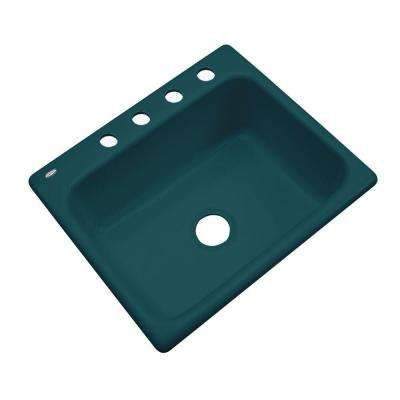 Inverness Drop-In Acrylic 25 in. 4-Hole Single Bowl Kitchen Sink in Teal