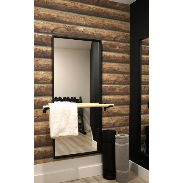 Nextwall Rustic Log Cabin Peel And Stick Wallpaper 30 75 Sq Ft Nw33905 The Home Depot