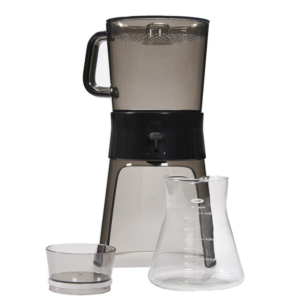 OXO Good Grips 4-Cup Gray Cold Brew Drip Coffee Maker with Filter