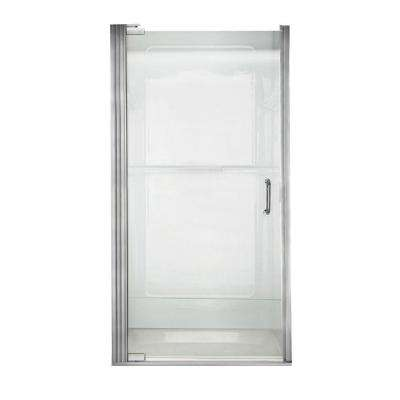 Euro 35-1/8 in. x 65-9/16 in. Semi-Frameless Shower Door in Silver with Clear Glass