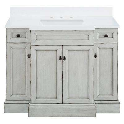 Teagen 42 in. W x 22 in. D Bath Vanity in Vintage Grey with Engineered Stone Vanity Top in White with White Basin