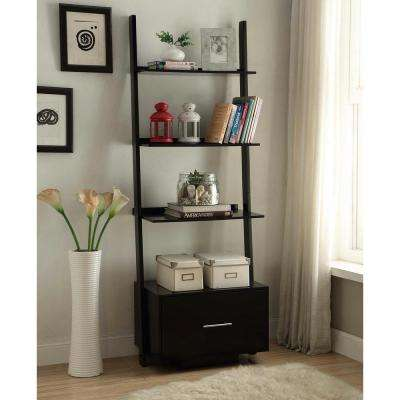 American Heritage Black Ladder Bookcase with File Drawer
