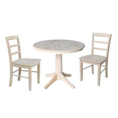 36 in. Solid Wood 3-Piece Ready to Finish Dining Set