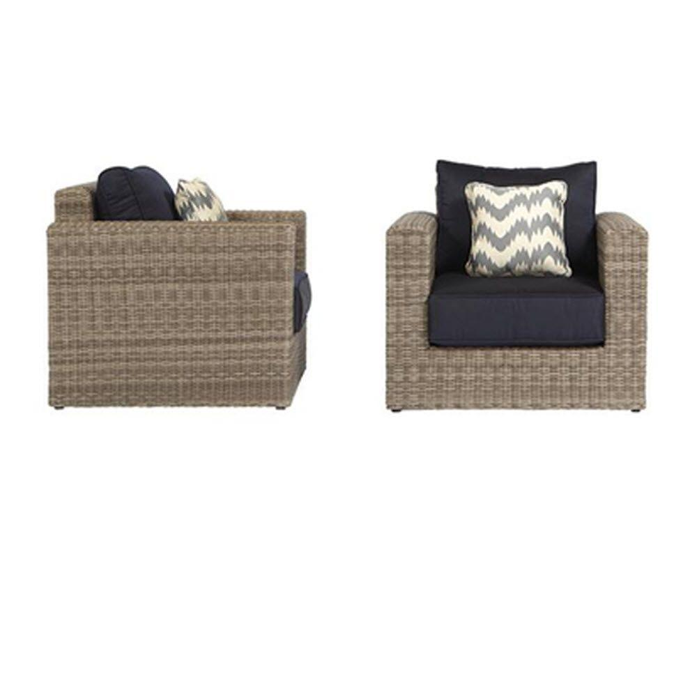 Home Decorators Collection Naples Grey All-Weather Wicker Outdoor Lounge Chair with Navy Cushions (2-Pack)