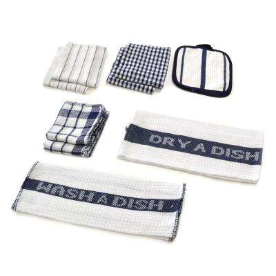Utility Kitchen Towel Set in Navy (17-Piece)