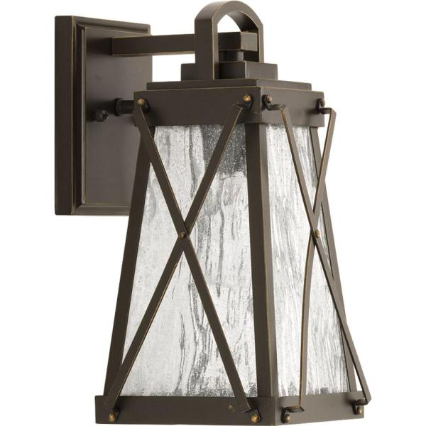 Creighton Collection 1-Light Antique Bronze 11.5 in. Outdoor Wall Lantern Sconce