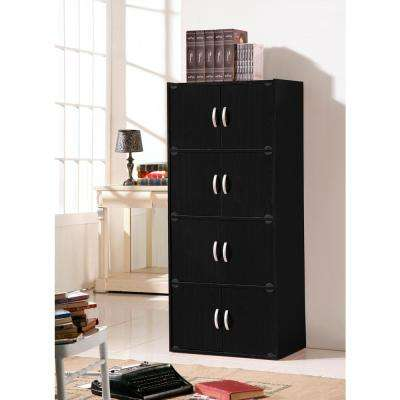 4-Shelf, 54 in. H Black Bookcase with Double Doors