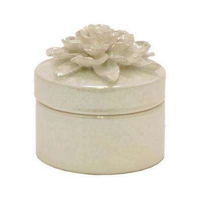 5.5 in. White Decorative Covered Floral Jar with Glossy Finish