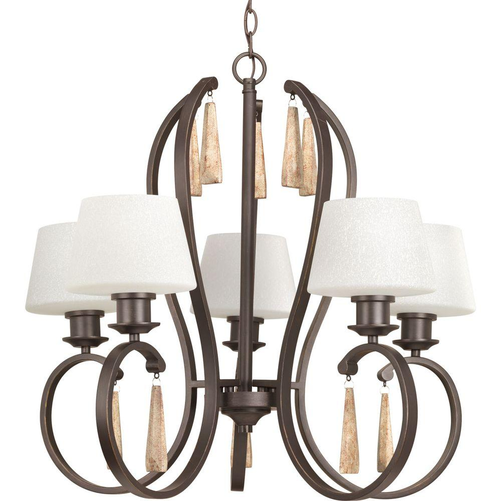 Club Collection 5-Light Antique Bronze Chandelier with Tea-Stained Glass Shade