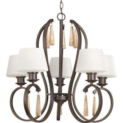 Club Collection 5-Light Antique Bronze Chandelier with Shade with Tea-Stained Glass Shade