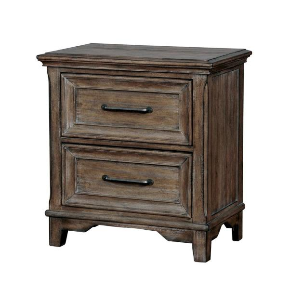 Furniture of America Caitlin 2-Drawer Rustic Oak Nightstand IDF-7845N