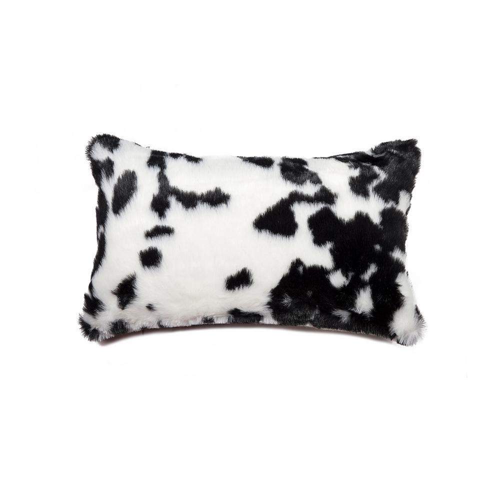 Black and White 12 in. x 20 in. Faux Cowhide Decorative