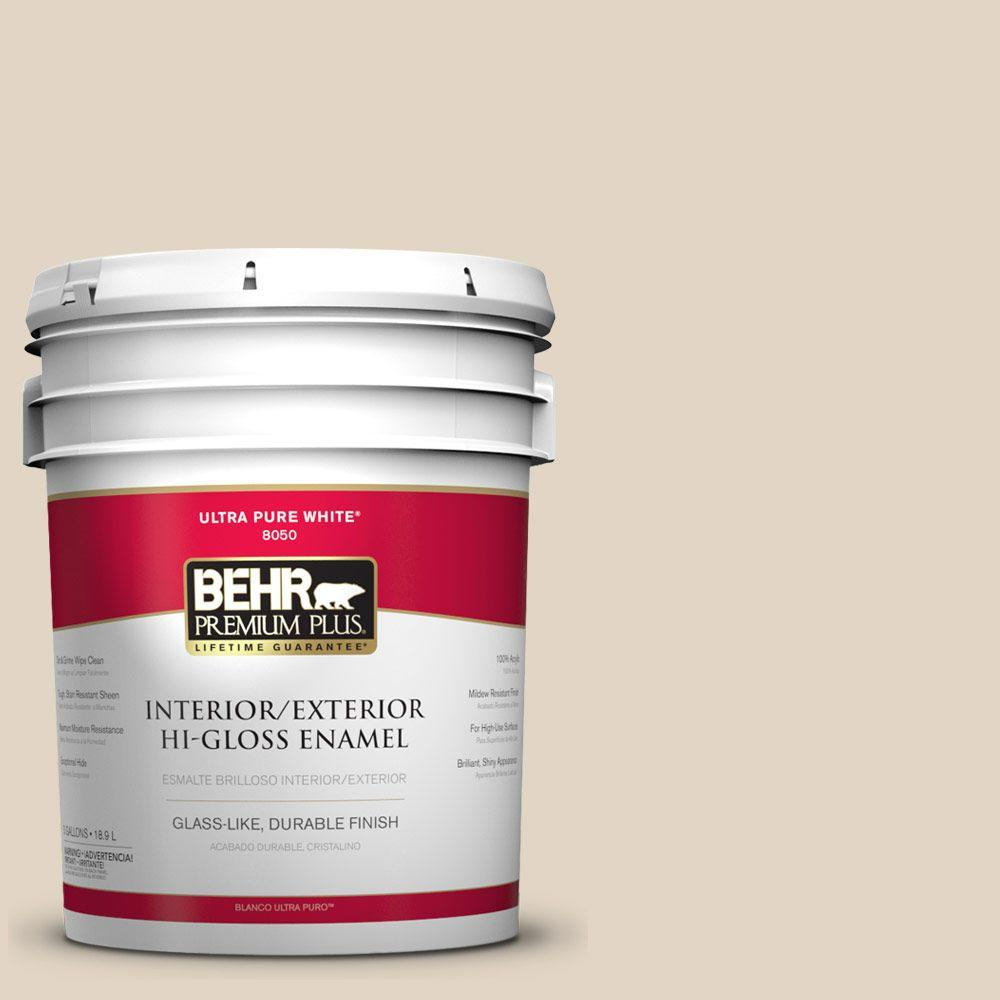 BEHR Premium Plus Home Decorators Collection 5-gal. #HDC-NT-15 Rococo Beige Hi-Gloss Enamel Interior/Exterior Paint