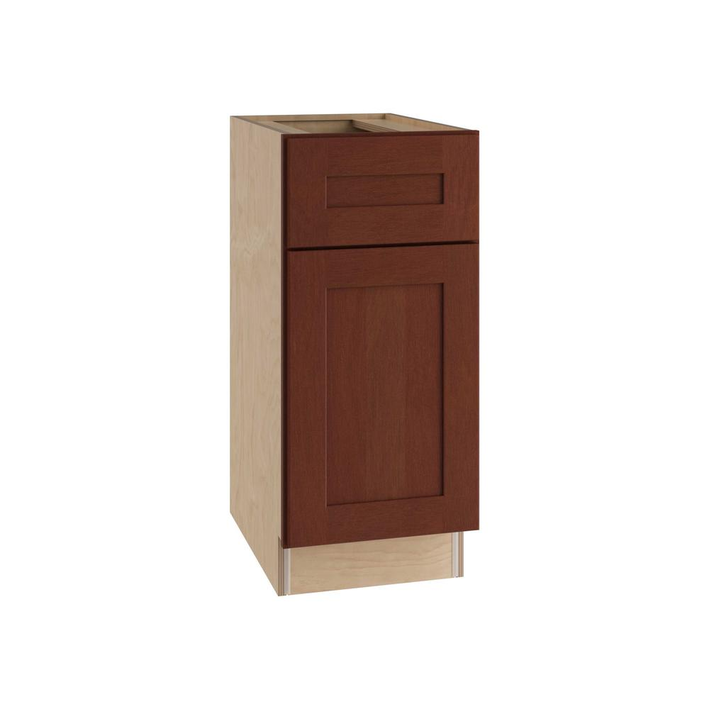 Home Decorators Collection Kingsbridge Assembled 12x34.5x24 in. Single Door, Drawer and 2 Rollout Trays Hinge Left Base Kitchen Cabinet in Cabernet