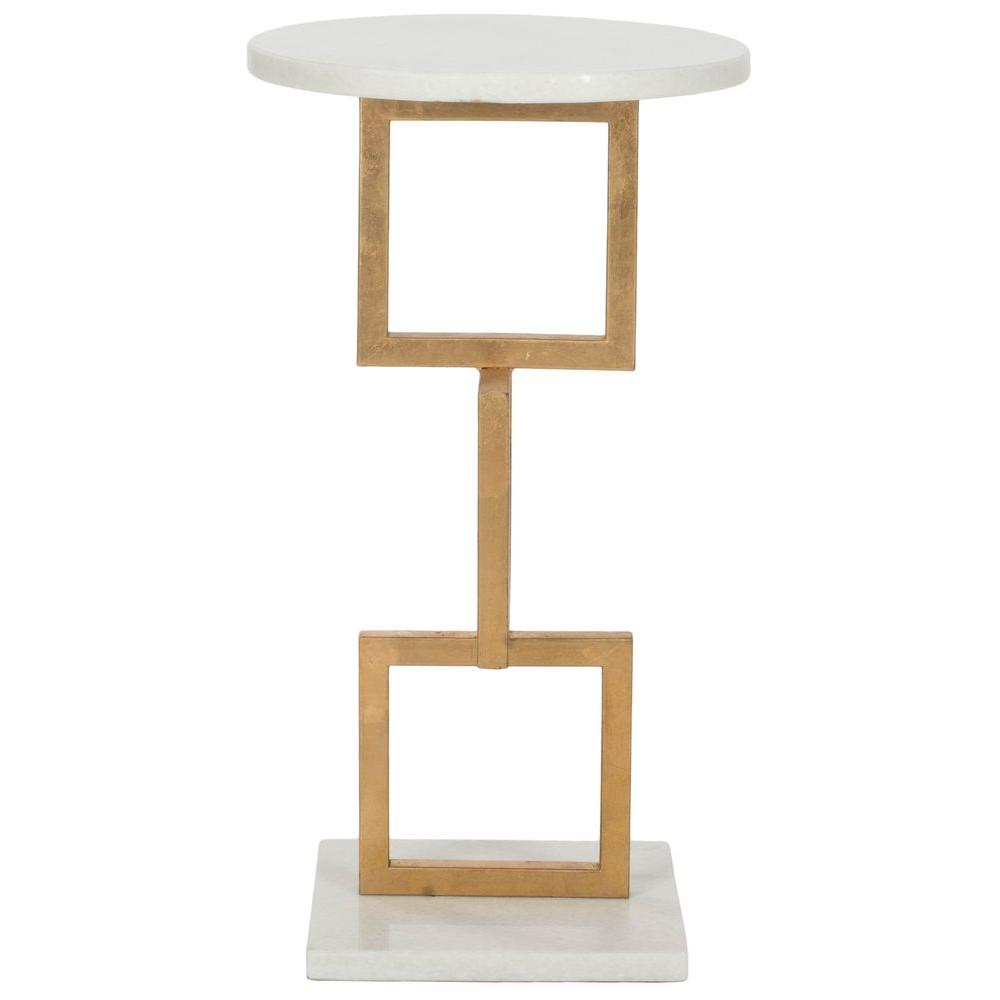 Safavieh Cassidy Gold and White Storage End Table
