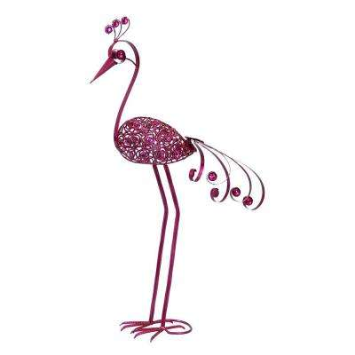 Giant 61 in. Pink Filigree Bird Statue with Filigree Flower Pattern Body