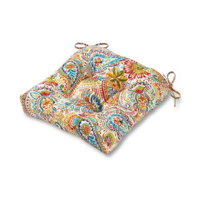 Painted Paisley Jamboree Square Tufted Outdoor Seat Cushion