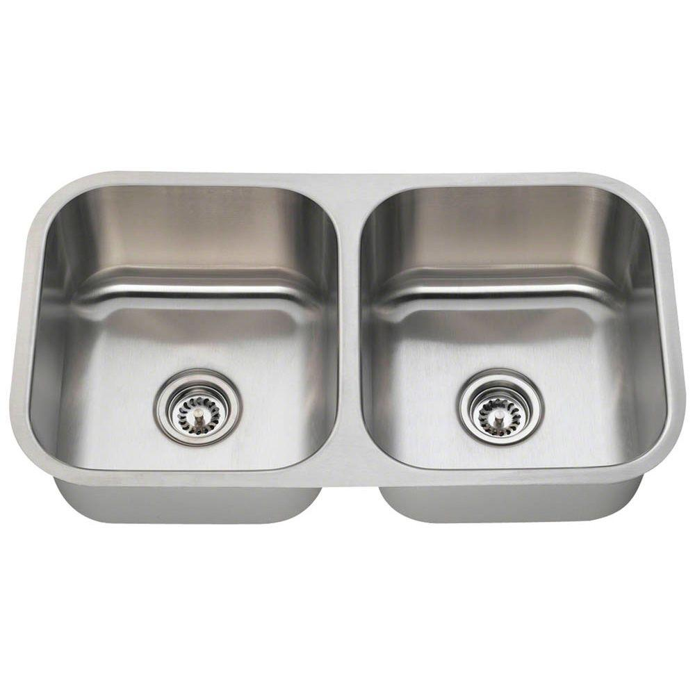 polaris sinks undermount stainless steel 33 in double bowl kitchen rh homedepot com two bowl kitchen sink fittings Shaped Bowl Kitchen Sinks