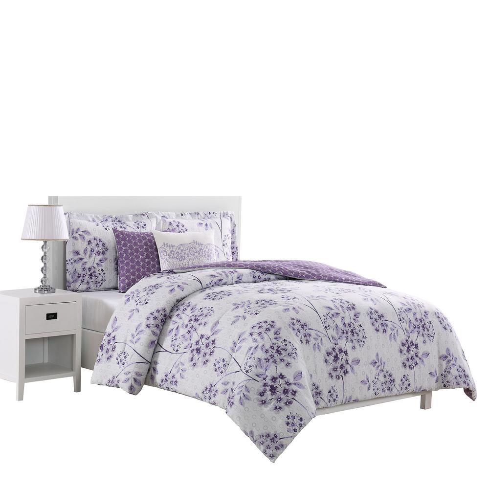 Bistro 5-Piece Reversible Purple Queen Comforter Set