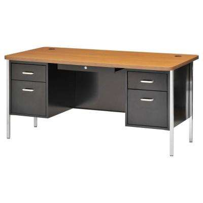 600 Series Double Pedestal Steel Desk in Black/Medium Oak