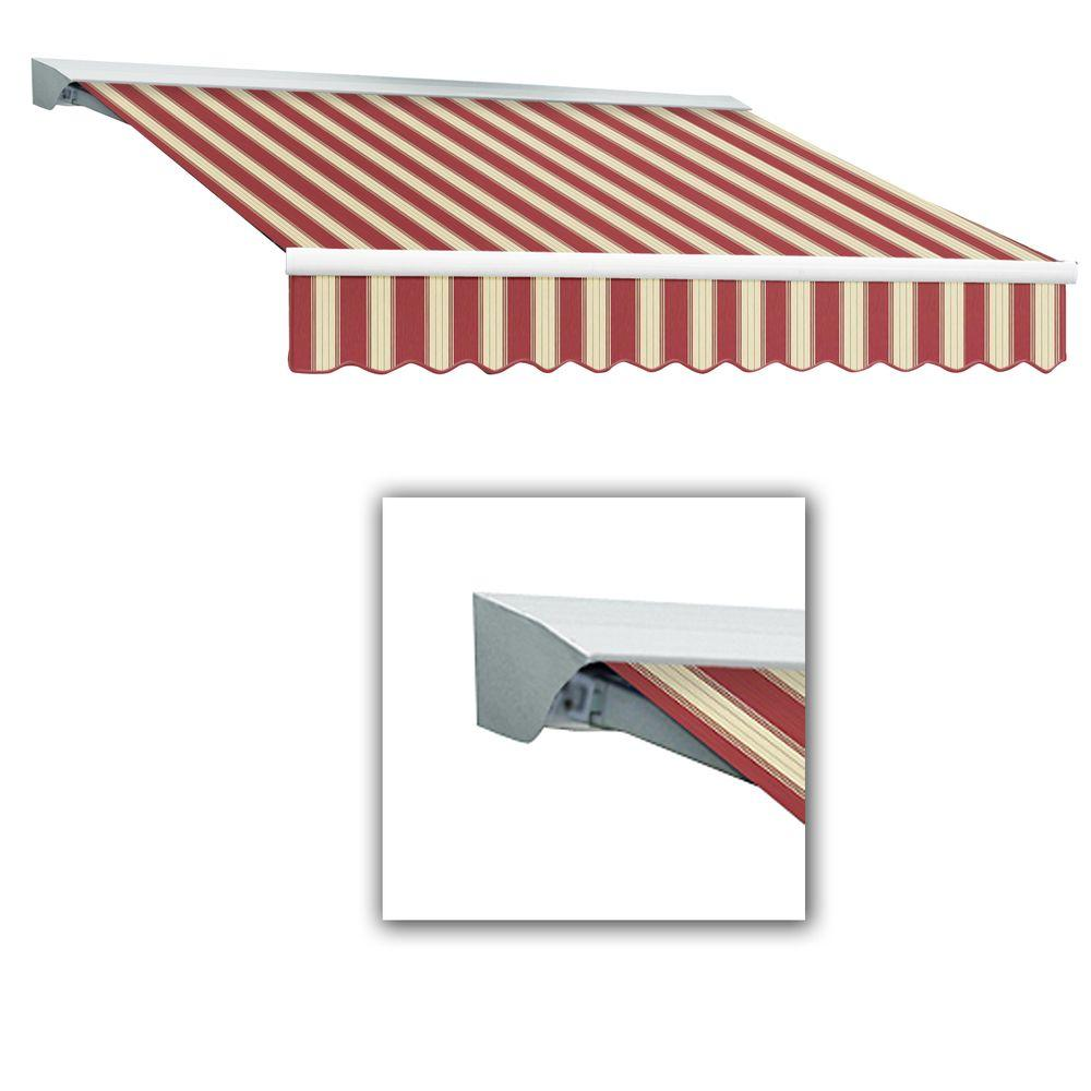 AWNTECH Destin with Hood Left Motor with Remote Retractable Awning Acrylic (14 ft. W x 10 ft. D) in Color Brown/Cream Multi