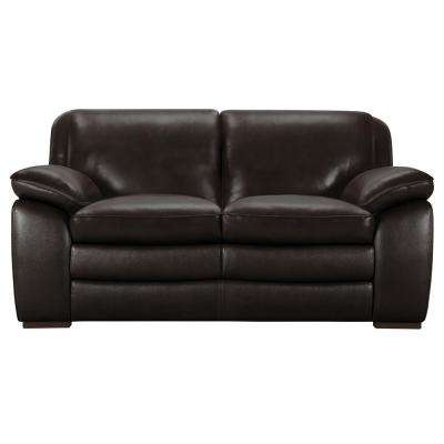 Armen Living Zanna Genuine Dark Brown Leather Contemporary Loveseat With  Brown Wood Legs