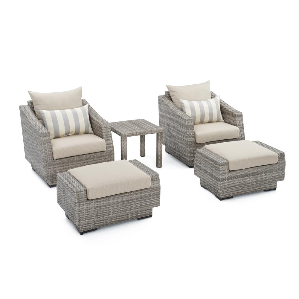 RST Brands Cannes 5 Piece Wicker Patio Chat Set With Slate Grey Cushions