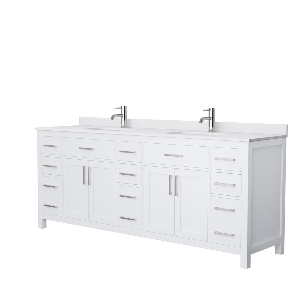 Wyndham Collection Beckett 84 In W X 22 In D Double Vanity In White With Cultured Marble Vanity Top In White With White Basins Wcg242484dwhwcunsmxx The Home Depot